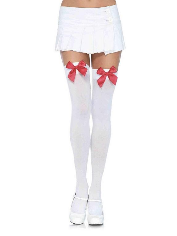 Leg Avenue White Hold-Ups with Red Bows, White, hi-res