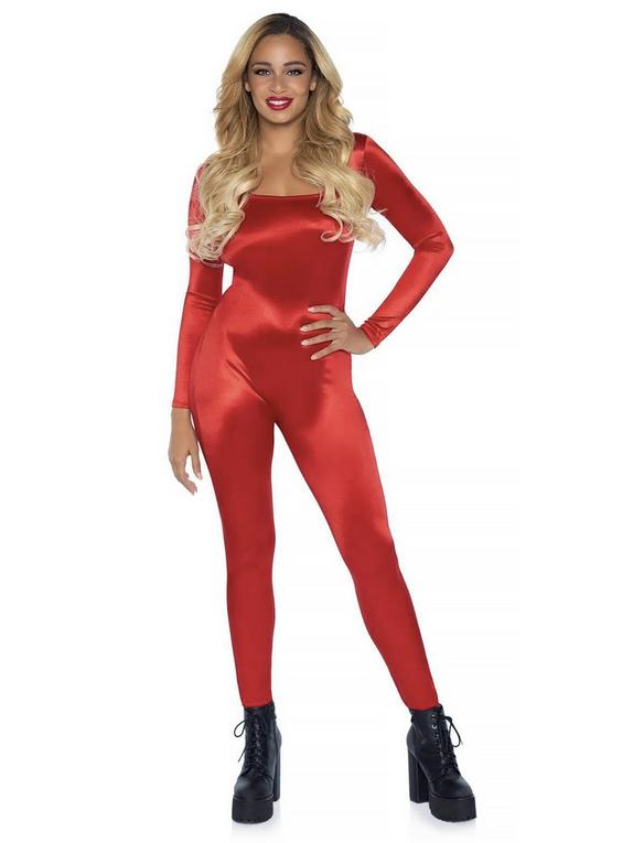 Leg Avenue Red Spandex Catsuit, Red, hi-res