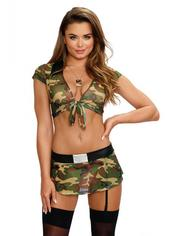 Dreamgirl Camouflage Tie Front Top and Skirt Set , Green, hi-res