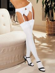 Shirley of Hollywood White Lace Top Stockings, White, hi-res
