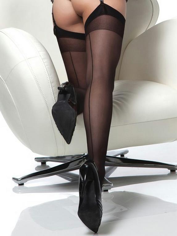 Bas couture transparents noirs, Coquette, Noir, hi-res