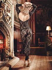 Baci Lingerie Black Floral Lace Bodystocking, Black, hi-res