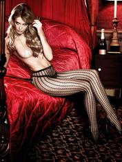 Baci Lingerie Black Sheer Striped Tights, Black, hi-res