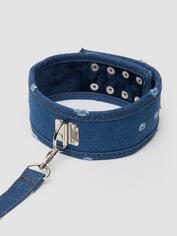 Ouch! Worn Denim Collar with Leash, Blue, hi-res