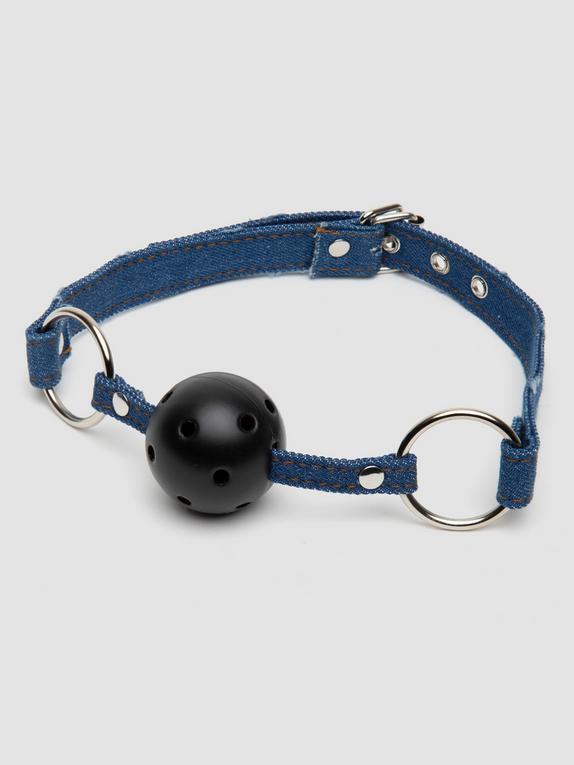 Ouch! Worn Denim Breathable Ball Gag, Blue, hi-res