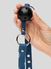 Ouch! Worn Denim Breathable Ball Gag, Blue, hi-res