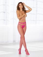 Dreamgirl Pink Fishnet Pantyhose, Pink, hi-res