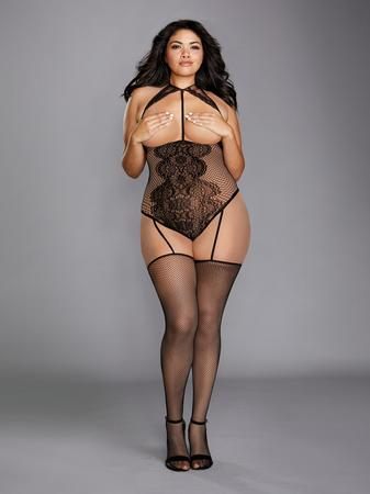 Dreamgirl Plus Size Black Fishnet and Lace Open-Cup Bodystocking