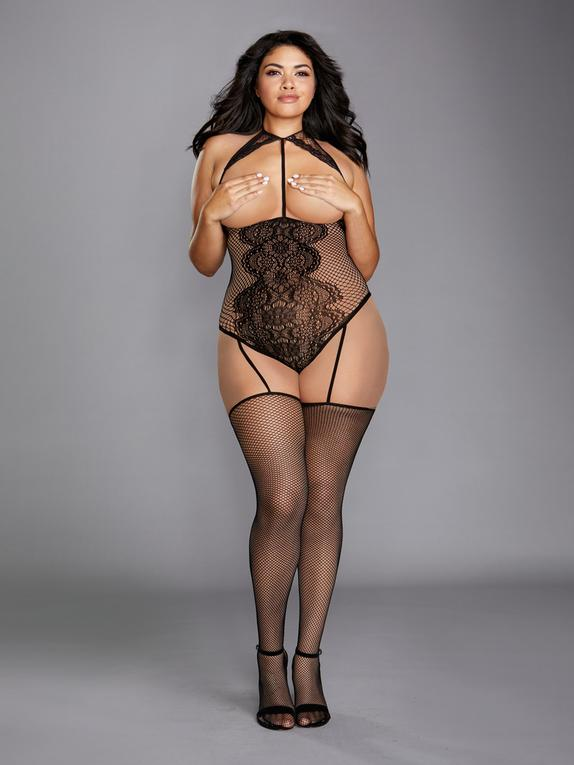 Dreamgirl Black Fishnet and Lace Open-Cup Bodystocking, Black, hi-res