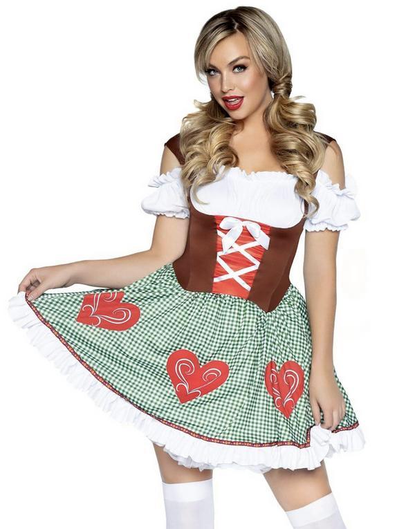 Leg Avenue Bavarian Cutie Costume, Green, hi-res