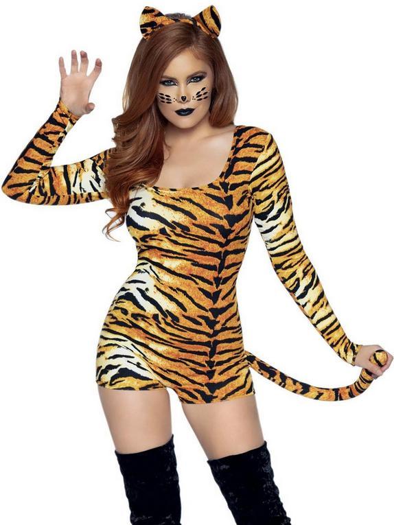 Leg Avenue Untamed Tiger Costume, Orange, hi-res