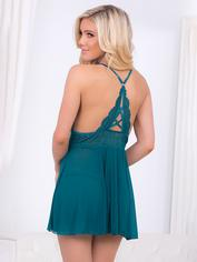 Escante Teal Mesh and Lace Babydoll, Green, hi-res