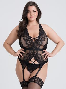 Lovehoney Plus Size Beau Corsagen-Set aus Spitze (schwarz)