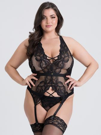 Lovehoney Plus Size Beau Black Lace Basque Set