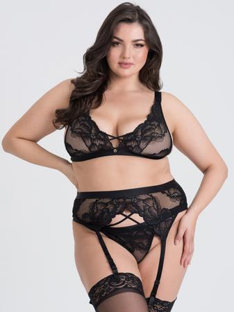 Lovehoney Plus Size Beau Black Lace Bra Set