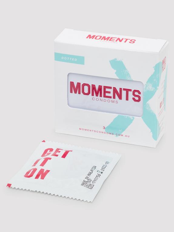 Moments Dotted Vegan Latex Condoms (3 Pack), , hi-res