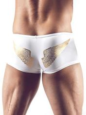 Svenjoyment White and Gold Angel Wings Zip Front Boxers, White, hi-res
