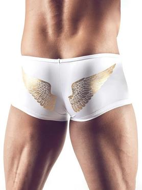 Svenjoyment White and Gold Angel Wings Zip Front Boxers
