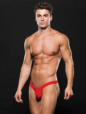 Envy Red Microfiber Zip Front Thong, Red, hi-res