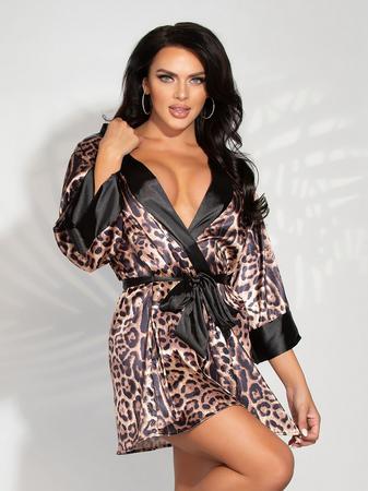 Seven 'til Midnight Leopard Print Satin Robe