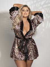 Seven 'til Midnight Leopard Print Satin Robe, Brown, hi-res