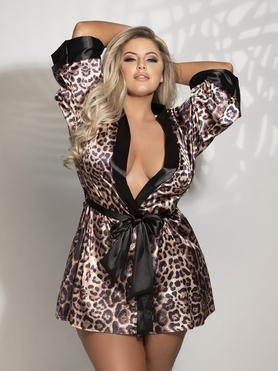 Seven 'til Midnight Plus Size Leopard Print Satin Robe