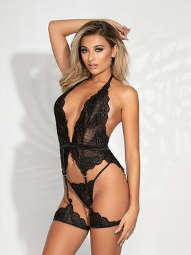 Seven 'til Midnight Black Lace Halterneck Bustier Set