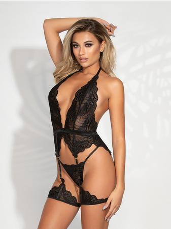 Seven 'til Midnight Plus Size Black Lace Halterneck Bustier Set