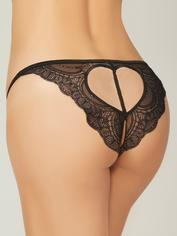 Seven 'til Midnight Black Lace Crotchless Heart Cut-Out Thong, Black, hi-res
