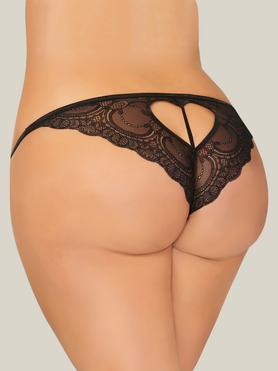 Seven 'til Midnight Plus Size Black Lace Crotchless Heart Cut-Out Thong