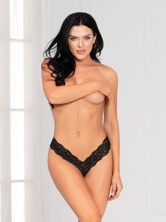 Seven 'til Midnight Black Lace Crotchless Thong