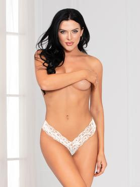 Seven 'til Midnight White Lace Crotchless Thong