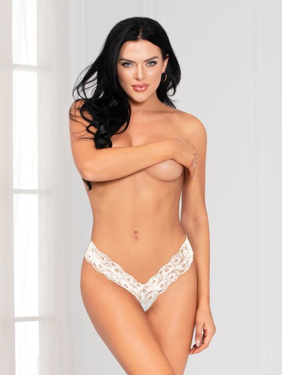 Seven 'til Midnight White Lace Crotchless Thong, White, hi-res