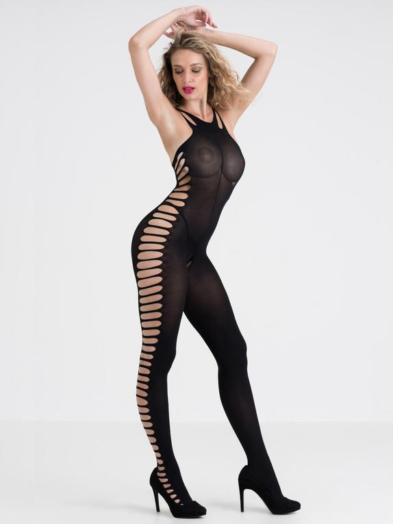 Lovehoney Crotchless Side Cut-Out Bodystocking, Black, hi-res