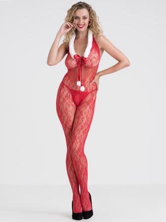 Lovehoney Red Lace Santa Crotchless Bodystocking