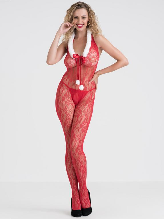 Lovehoney Red Lace Santa Crotchless Bodystocking, Red, hi-res
