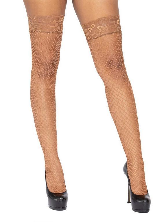 Leg Avenue Beige Fishnet Lace Top Hold-Ups, Brown, hi-res