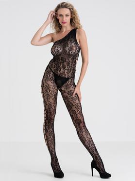 Lovehoney Black Lace One-Shoulder Crotchless Bodystocking