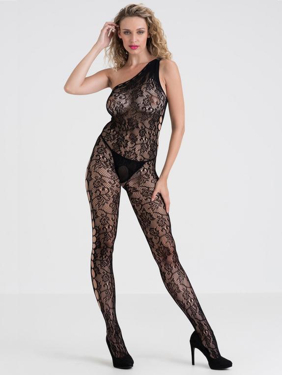 Lovehoney Black Lace One-Shoulder Crotchless Bodystocking, Black, hi-res