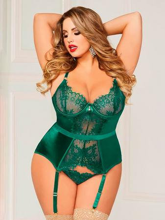 Seven 'til Midnight Green Satin and Lace Underwired Bustier Set