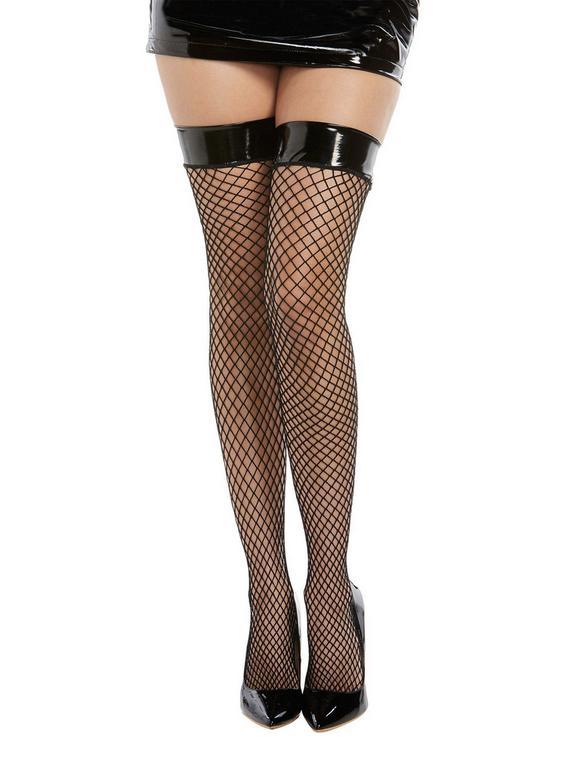 Dreamgirl Black Fishnet Wet Look Top Thigh-Highs, Black, hi-res