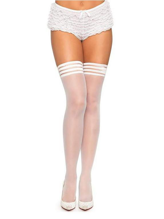 Leg Avenue White Sheer Hold-Ups with Striped Tops, White, hi-res