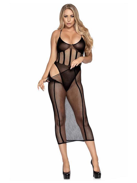 Leg Avenue Black Teddy and Skirt Set , Black, hi-res