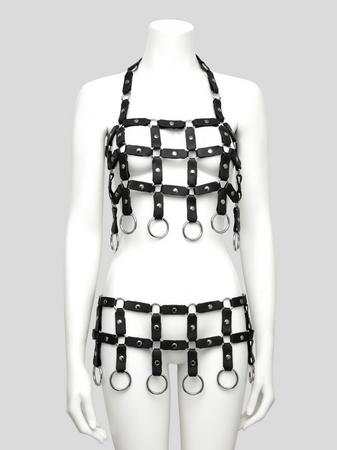 DOMINIX Deluxe Leather Caged Bra and Belt