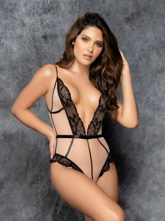 Mapale Plus Size Black and Beige Plunge Lace Teddy