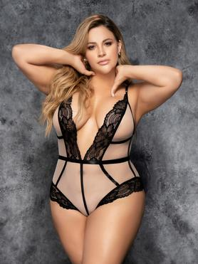 Mapale Plus Size Black and Beige Plunge Lace Body