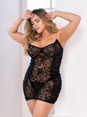 Mapale Plus Size Black Peek-a-Boo Ruched Lace Chemise Set