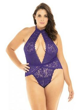Oh La La Cheri Plus Size lila Body aus Spitze mit freiem Rücken