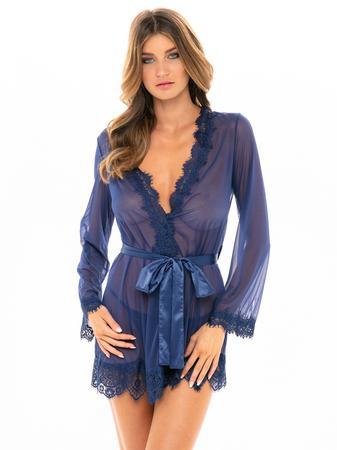 Oh La La Cheri Blue Sheer Eyelash Lace Trim Robe