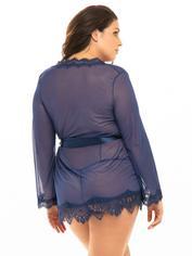 Oh La La Cheri Blue Sheer Eyelash Lace Trim Robe , Blue, hi-res